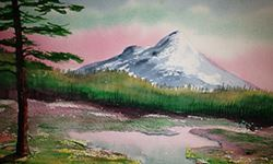 Painting of a mountain with a creek
