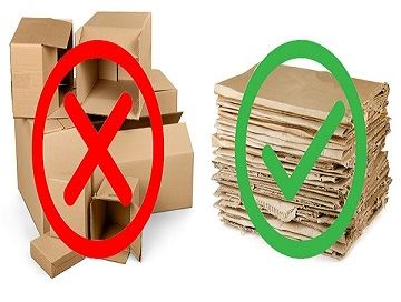 Break down and/or flatten all cardboard boxes to recycle