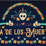 Dia De Los Muertos - logo with skull, flowers and garland surrounding the words