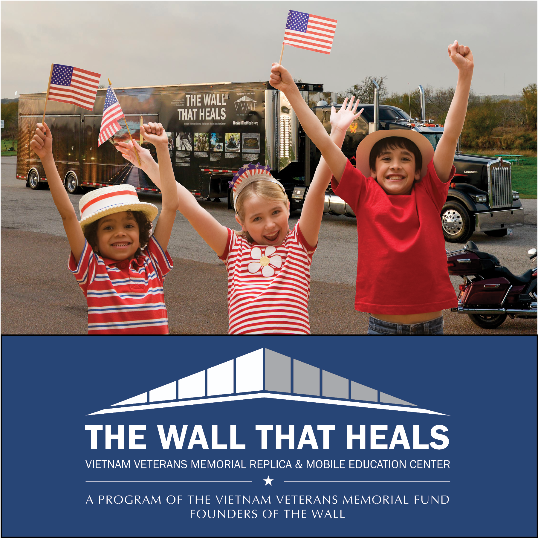 Children greeting The Wall That Heals