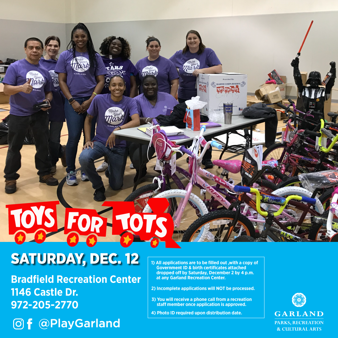 2020 flier for Toys for Tots on Dec. 12 at Bradfield Rec Center