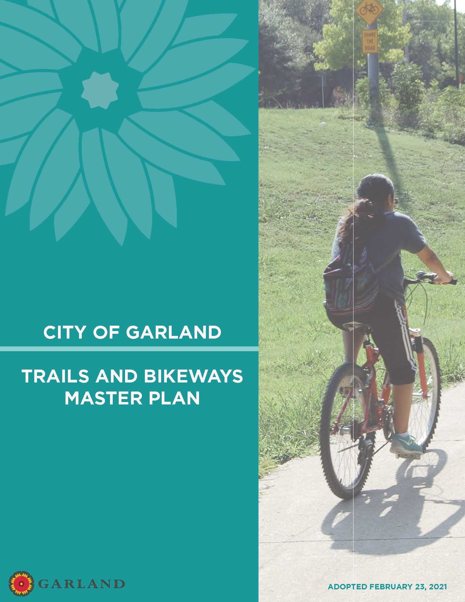 Garland Trails and Bikeways Master Plan_title page with girl on bike